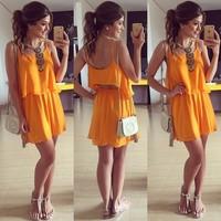 Moda 2015 Summer Tropical Orange Plus Size Strap Chic Vestido De Festa Women's Casual Dress Vestidos