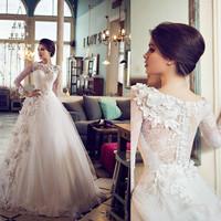 vestido de noiva scoop neck Long sleeves see through lace ball gown wedding dress VG0078