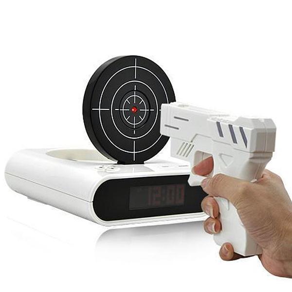 Novelty New Laser Target Gun Alarm Clock Snooze Waken With LED Backlight Desk Gadget Shoot To Stop Fashion Gift(China (Mainland))
