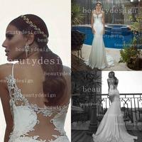vestidos de noivas 2014 sexy mermaid spaghetti straps sweetheart neckline backless wedding dress bridal gown GL1408