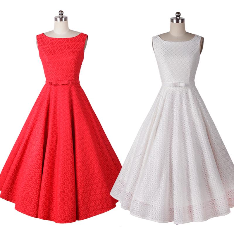 Lace audrey hepburn vintage style 50s 60s dresses long red white princess elegant casual retro dress