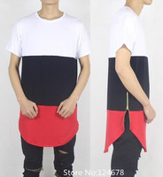 side zip shirt men zipper white black red kanye west tyga uk swag clothes hip hop hba oversized extended skate pyrex brand cool
