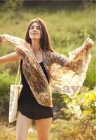 NEW 2014 Spring Trendy Fashion Womens Totem Retro Bohemia Floral Print Silk Scarf Noble Shawl Ladies Long Scarves Pashmina