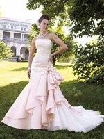 New Arrivals sleeveless lace applique mermaid Court train Pink wedding dress BO0415