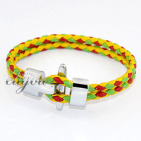 NEW Fashion 8mm Mens Womens Red Yellow Green Braided Rope Faux Leather Bracelet w Stainless Steel Clasp Free Shipping LB63