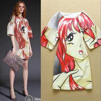 New 2015 Spring Fashion High Street Woman Cartoon Print Oversize Print Chic Dress Party Dress F16677