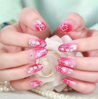 Free Shipping 24 pcs /set 3d False Nails Wedding red Diamond Finger fake nail DIY Nail Stickers Decals Tools J63