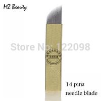 14 pins Manual tattoo pen's needle blade permanent eyebrow pen needle free shipping