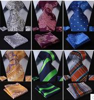 Plaid Floral Paisley Silk Gravata Jacquard Man's Tie Necktie Pocket Square Handkerchief Set Suit