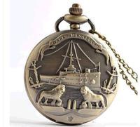 Animated cartoon antique sailing quartz pocket watch necklace Men's watch pendant 10pcs/lot