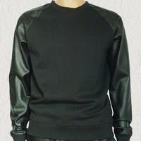 leather sleeve sweatshirt men hip hop cool sweater hoodie pyrex brand designer kanye west  streetwear black men clothing styles