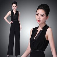 High Street Elegant Celebrity Ladies Jumpsuit Black Deep V-neck Sexy Women Wide Leg Pants Overalls Bodysuit OL Macacao
