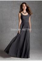 A-Line Scoop Pleated Zipper Back Floor-Length  Long   chiffon   Custom made   evening dress