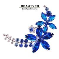 High Quality Platinum Plated Flower Women Brooches Blue Zircon Broach Fashion Jewelry Accessories Beautyer XZ26