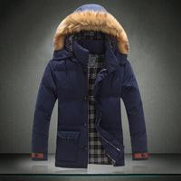 With Raccoon Fur Hood Men  Khaki  Blue Yellow Thick  Cheap Winter Coats For Men Middle-Long Trench Warm Cotton Regular Parkas.