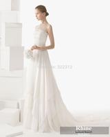 2015 Rhine Graceful Bateau Neck A Line Wedding Dresses Sleeveless SweepTrain Wedding Gowns Bridal Gowns