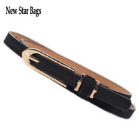2014 Hot Fashion Candy Color Metal Buckle Thin Women's Pigskin Leather Belt Woman Waistband .S3E