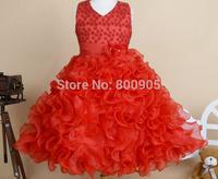 Retail New very beautiful Girl Dress  Princess girls baby peals flower Dresses