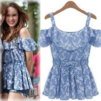 6413 European American big brand new fashion printing flounced collar halter tops vest 2014 women