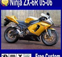 Custom motorcycle fairing kits for kawasaki ninja 2006 2005 ZX 6R 05 06 ZX6R 636 ZX-6R yellow black aftermarket fairings bodykit