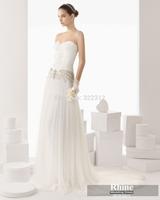 Rhine 2015 Glamorous Sweetheart Sheath Wedding Dresses Applique Floor Length Chiffon Bridal Gowns Wedding Gowns