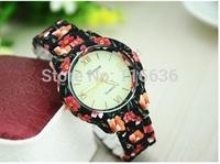 10pcs lot METAL Geneva Printed Flowers Watch Platinum Geneva Watch Women Analog wristwatch Vintage Fashion Wholesale
