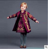 Europe and America Wlmons**n brand girls spring dress thick position jacquard skirt children short dress