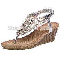 New vintage summer flat sandals string bead women's shoes belt clip flip-flop wedges shoes and bags sliverand gold,size 34=39