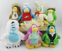 Wholesale 10 sets 70 pcs New Club Penguin soft Plush Toys,Cartoon Penguin Stuffed Dolls,20cm Height,Christmas Gift,Free shipping