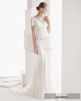 Rhine 2015 Glamorous Scoop Neck Sheath Wedding Dresses Applique White Sweep Train Chiffon Bridal Gowns Wedding Gowns