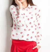 2014 Brand New lip print style Fashion Casual Women Blouses Vintage style Polka Chiffon Blouses full Sleeve Lapel Shirts