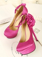 free shipping women's sweet lady shoes round toe platform high heeled flowers shallow mouth wedding pumps dx1418 f-467