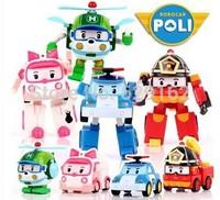 Free shipping 4PCS/Set Robocar Poli Transformation Robot Car Toys South Korea Hot Sale Deformed Car Gift