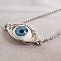 Angel and devil eyes Harajuku Gothic punk metal eye necklace handmade clavicle chain free shipping