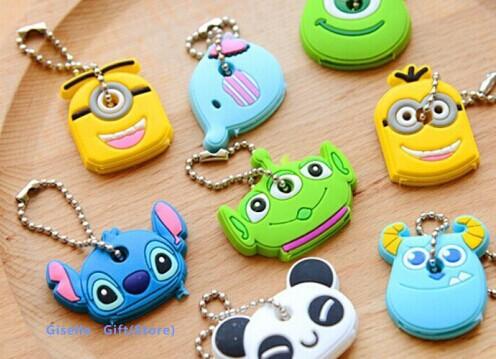 8Designs Kawaii Cartoon Monsters Minions Etc. Rubber KEY Cover Chain Holder Keychain KEY Hook Cap Case Key Coat Wrap Coat Cover(China (Mainland))