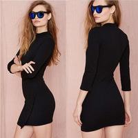 2015 casual dress fashion style temperament round neck women dress package hip Slim Sleeve Dress