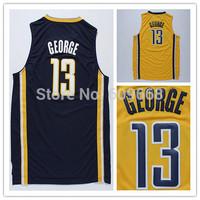 new fashion top quality Indiana geoge 13 cheap basketball jersey embroidery logo shirt S-XXL dark blue yellow grey free shipping