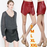 European style winter new skorts women's plus size irregular pu leather shorts skirts pom pom shorts culottes