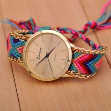 2015 New Brand GENEVA Watch Handmade Braided Friendship Bracelet women watches Fashion Ladies Quartz Wristwatches