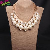 2014 Double Pearl Gem Woven Short Necklace Korean Fashion Accessories Statement Necklace & Pendant Women 9826