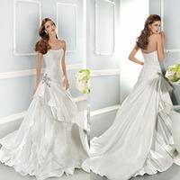 New Elegant Empire Strapless White Ivory Floor Length Wedding Dress Bridal Gown Long Taffeta Bridal Wedding Gown Backless f755