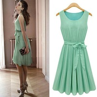 New 2014 Summer fashion brand Casual Women Chiffon Dresses Sleeveless Vest Pleated casual Dress with belt  S, M, L, XL SY2783
