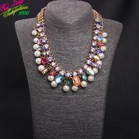 2014 Charm Multilayer Pearl Gem Woven Short Necklace Korean Fashion Accessories Statement Necklace & Pendant Women 9825