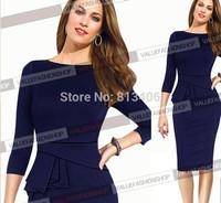 Autumn&Winter Women Formal Office Draped Three Quarter Sleeve Tunic Dress Knee-length Plus Size S-XXL Bodycon Pencil Dress H64