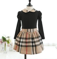 2015 new arrival Baby Girls Princess long sleeve Plaid Party Fancy Dress,girl's clothes,Kids Brand Plaid cotton dresses
