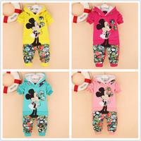 Free shipping Baby  Kids cotton velvet suit  cartoon girls clothing sets children clothing