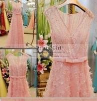 Robe De Soiree 2015 Custom Made Elie Saab Dress Sexy Beading Appliques Long Pink Evening Dress Elegant Formal Prom Dress Vestido
