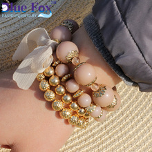 Blue Fox New 2015 Fashion Charm Bracelets 3 Beads Synthesis Chain & Link Bracelets for Women BF-9001