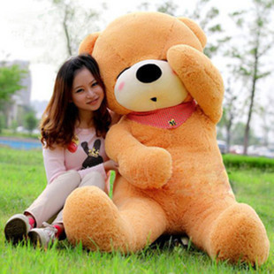 Huge big teddy bear plush 100cm stuffed animals soft sleepping scarf teddy bear christmas gifts free shipping wholesale(China (Mainland))