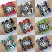 2015 New Fashion Vintage Silver Infinity and Best Friend Quartz Watch Bracelet with Crystal Wristwatch Handmade Leather Bracelet